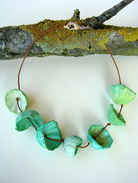 Aqua Paper Flowers Necklace by Alessandra Fabre Repetto