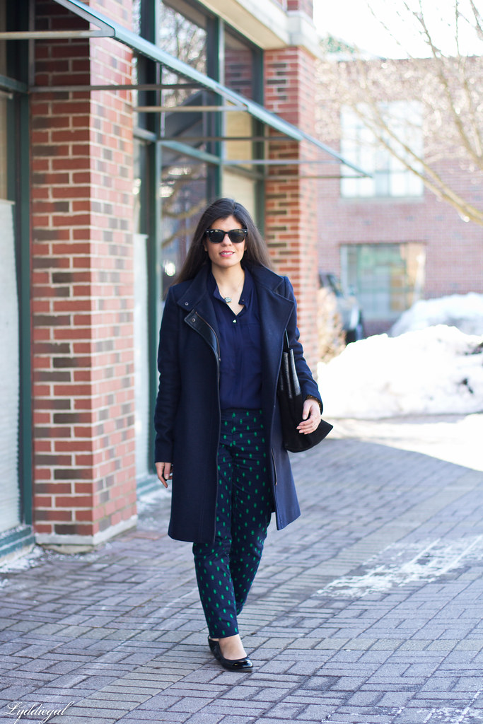 printed pants, navy blouse, navy coat-3.jpg