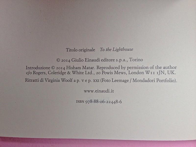 Virgina Woolf, Gita al Faro. Einaudi 2014. Progetto grafico di 46xy. Colophon, al verso del frontespizio (part.), 1
