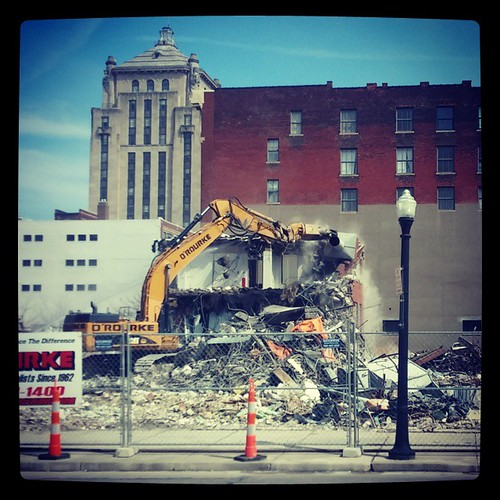 The old American Red Cross Building in downtown Cincinnati is almost completely gone...