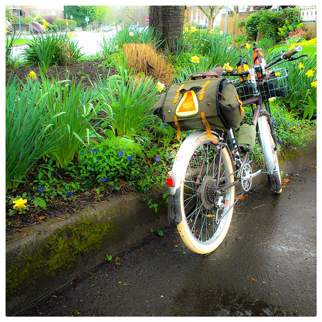 Springtime, bicycles, rain, Portland.