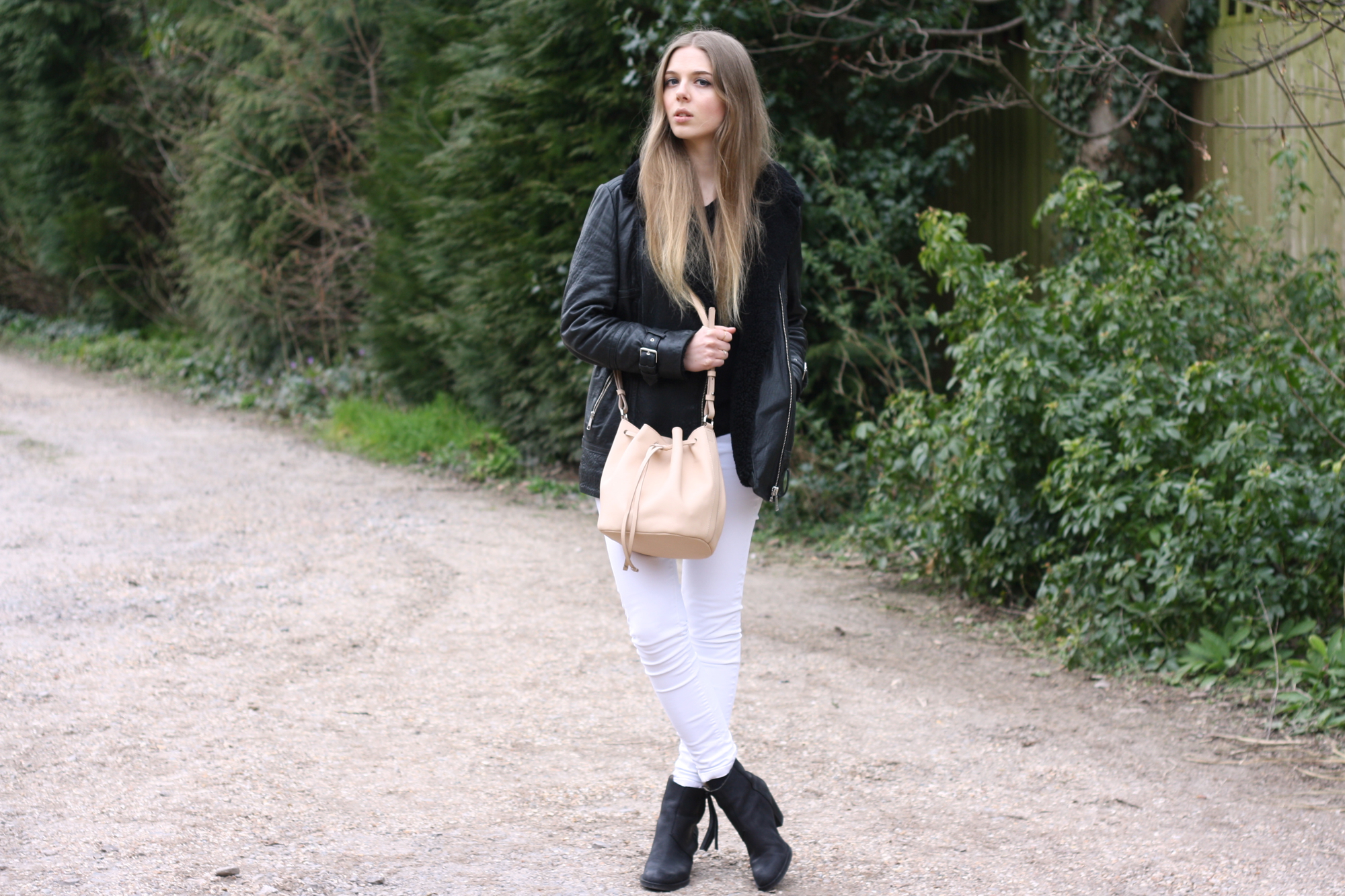 Whistles shearling leather jacket