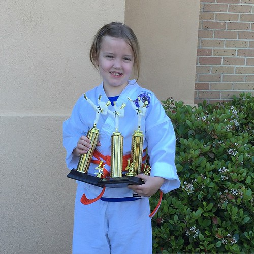 87:365 Three 1st place trophies at this morning's karate tournament.