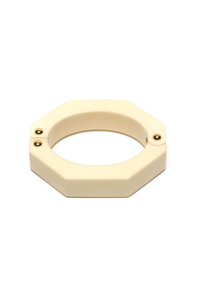 Modern Hinged Cuff in Cream