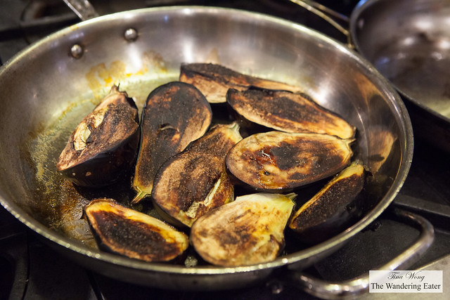 Sauteed and broiled eggplant