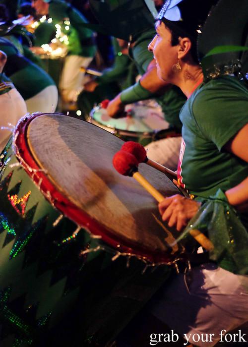 Batucada parade drummers at the Cuba Dupa Festival 2015, Wellington