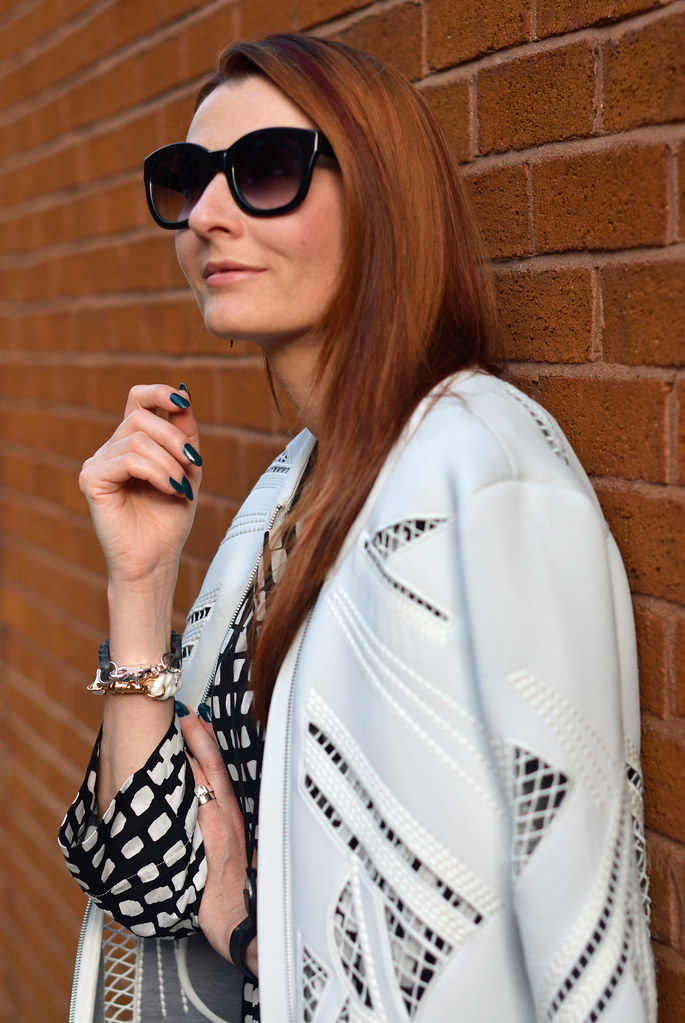 White cut out jacket, black and white graphic top