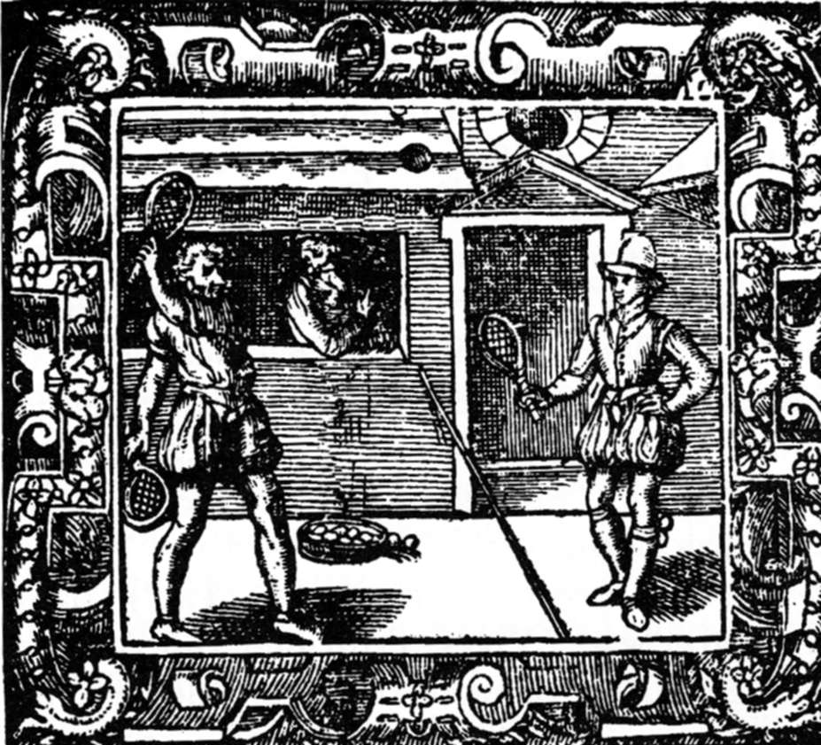 A Tennis game, one of the first depictions of a line in the middle (the predecessor of today's net).
