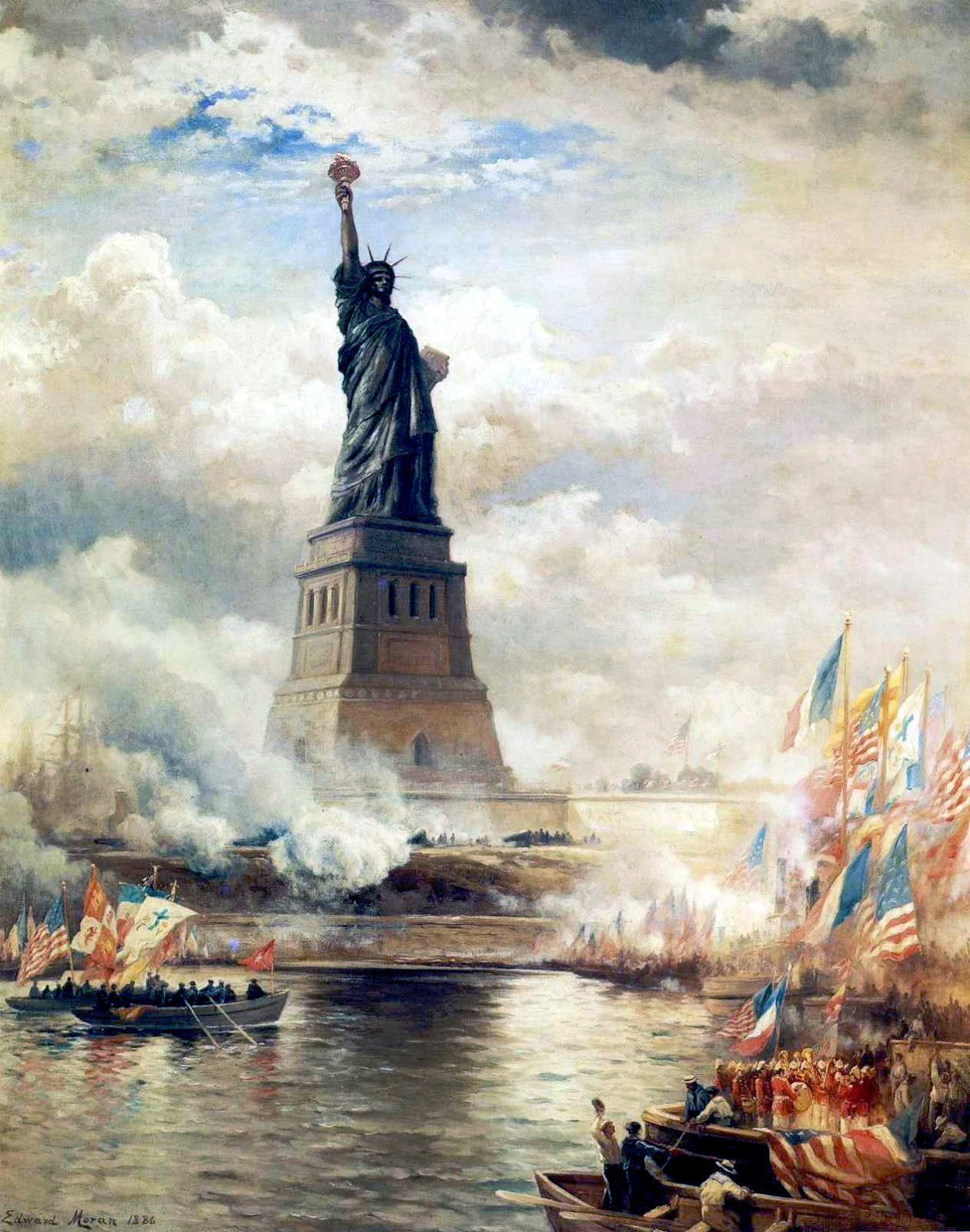 Statue of Liberty unveiled by Edward Moran, 1886