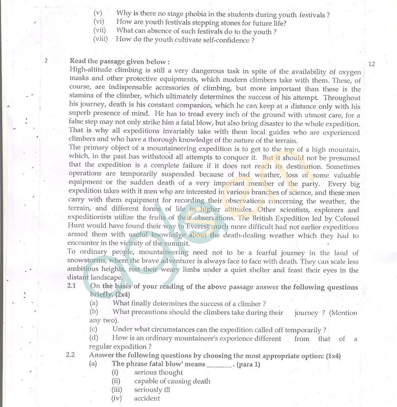 CBSE Class 10 Question Paper English (SA2)