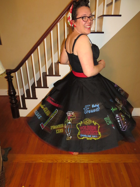Thu, 03/26/2015 - 7:51pm - Natalie painted this awesome skirt for our trip to Viva Las Vegas 18 next week!