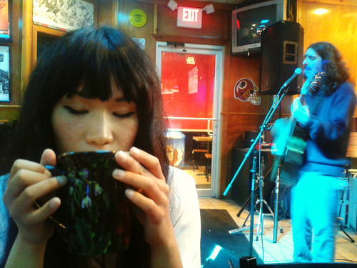 Ana Drinking Coffee at Chichos (April 7 2014)