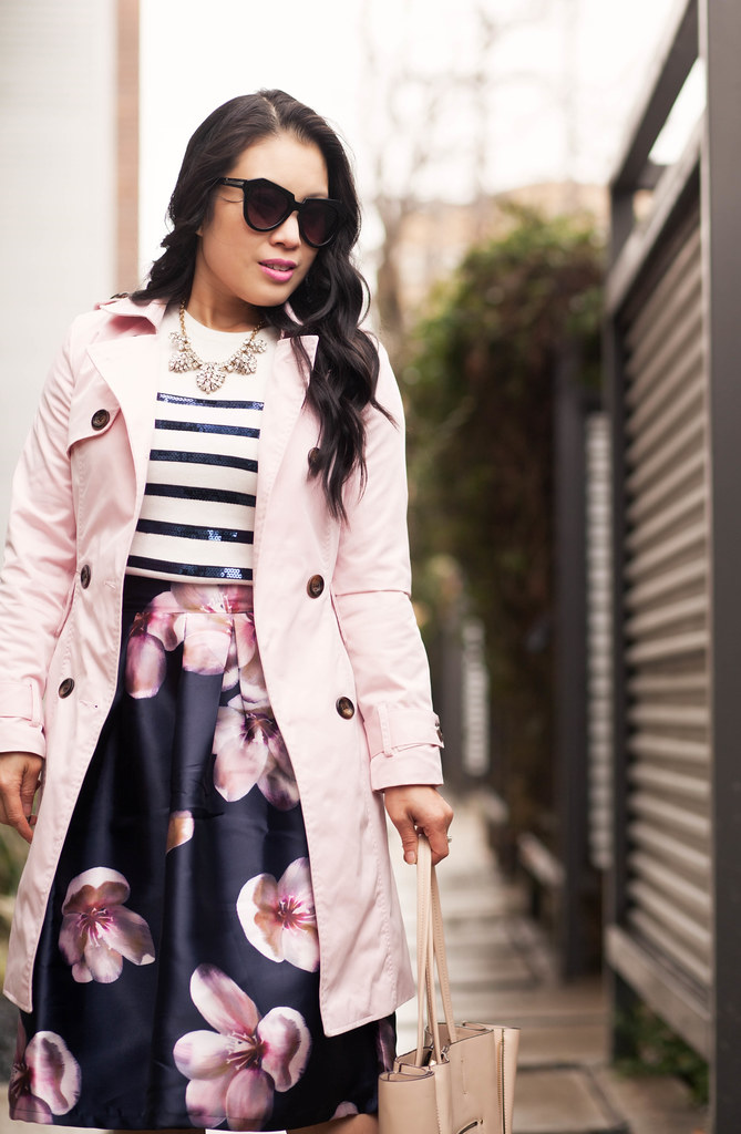 cute & little blog | petite fashion | pink trench, navy sequin stripes sweater, navy pink floral midi skirt, fuchsia pink pumps | spring outfit
