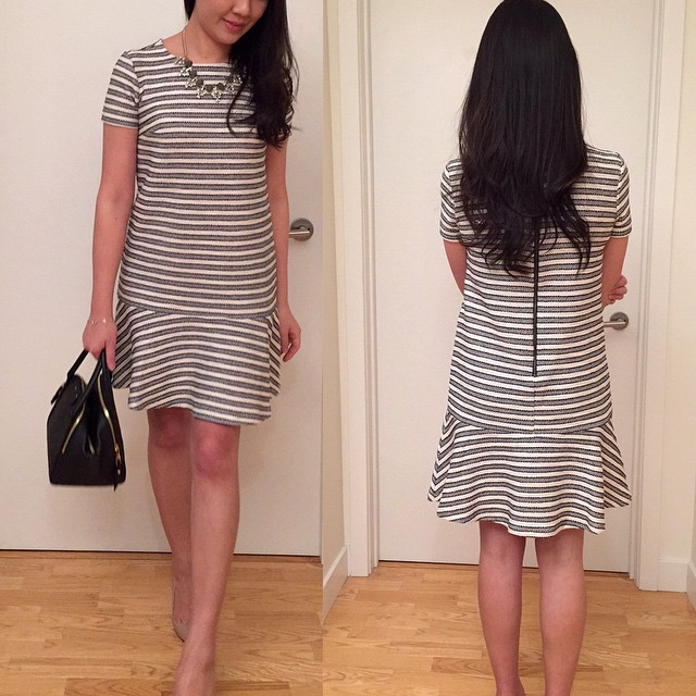 This @loft tweed #stripe tennis #dress is currently 40% off. Runs large since I'm wearing size 00P (review and measurements can be found in my post from 2/12). Also please check out my sales picks #ontheblog.  #linkinprofile @liketoknow.it www.li