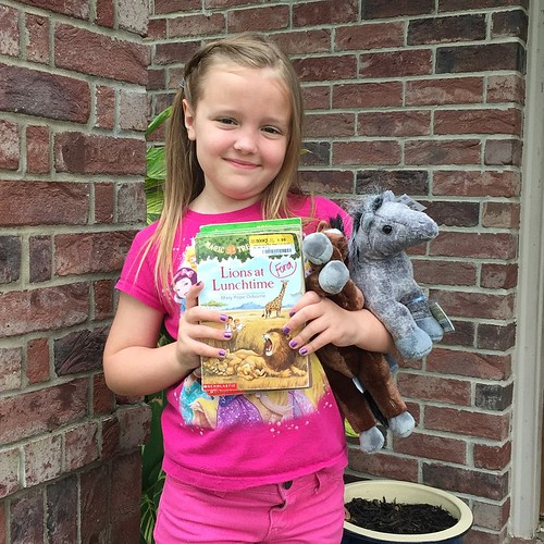 108:365 What a day this kid had... hair & nails done, 2 new plush horses and 5 Magic Treehouse books. It's good to be a kid.