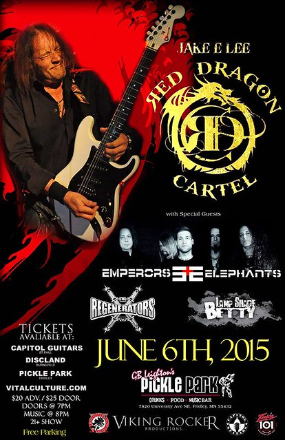 06/06/15 Jake E. Lee's Red Dragon Cartel/ Emperors and Elephants/ The Regenerators/ Lamp Shade Betty @ GB Leighton's Pickle Park, Fridley, MN