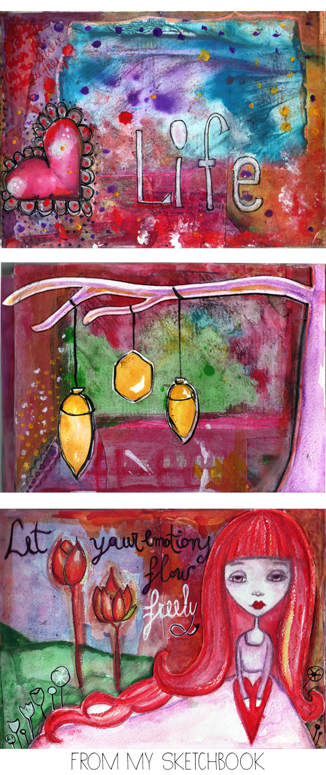 From my Sketchbook - Design by alex b - art journal & mixed media pages