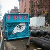 Eye see you #ShippingContainer #StreetArt #graffiti #skull #LightningBolt #EastVillage #Manhattan #NYC