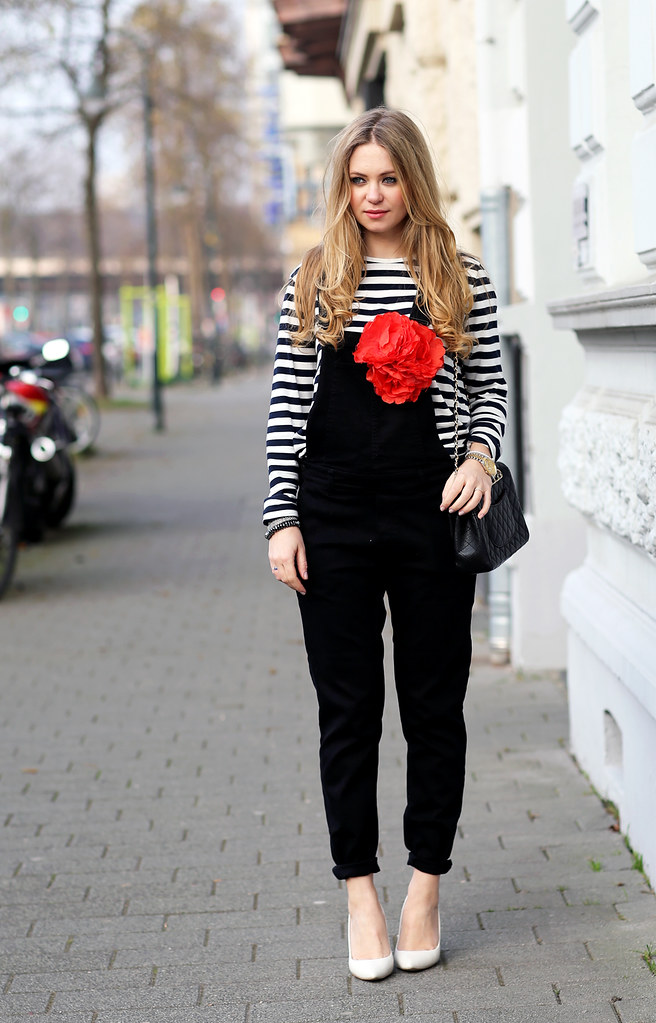 dungarees H&M striped shirt