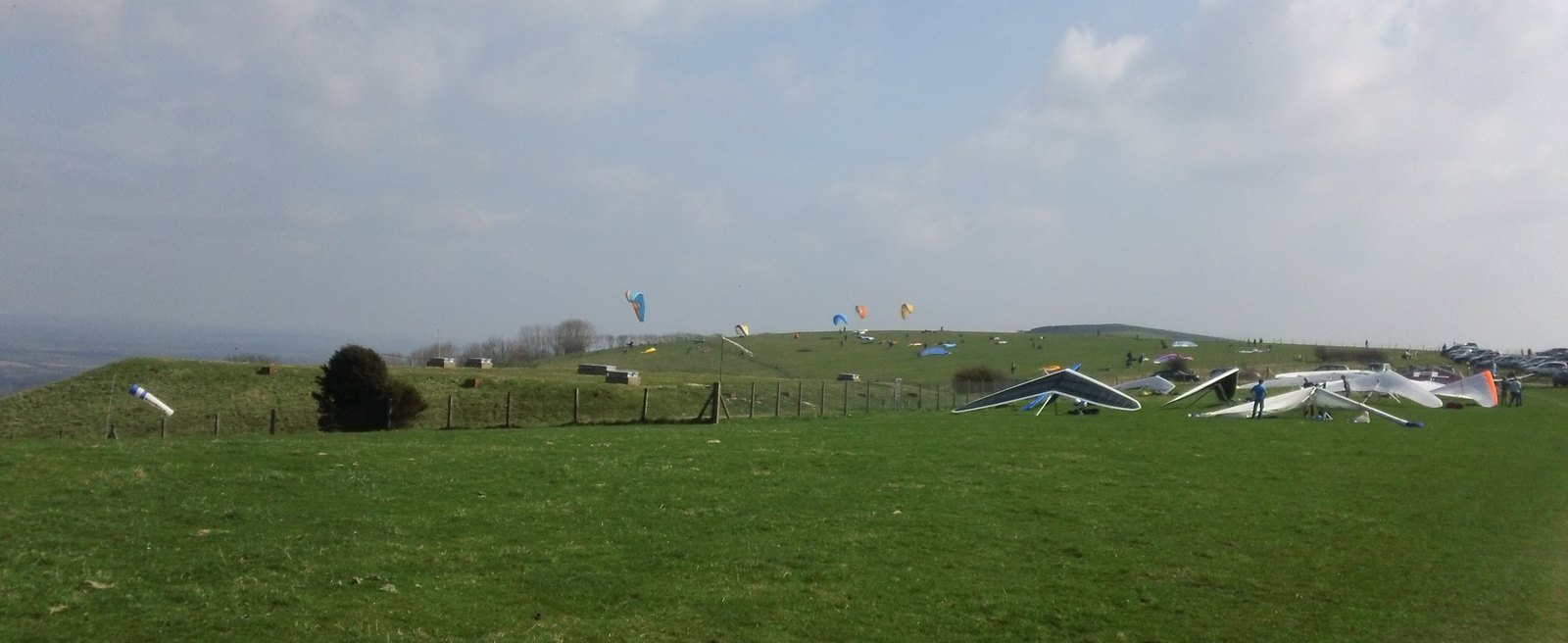 Paragliders at Firle Bostal along the South Downs Way, East Sussex