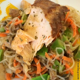 Peanut sauce noodles and salmon