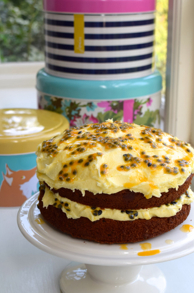 Springtime Chocolate & Fresh Passion Fruit Buttercream Cake
