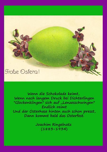 Frohe Ostern Osterei Osterkarte Gedicht Joachim Ringelnatz Ostergedicht