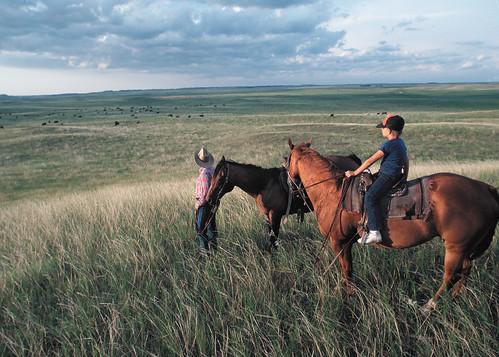 A rancher and his son survey a swath of Dakota grasslands