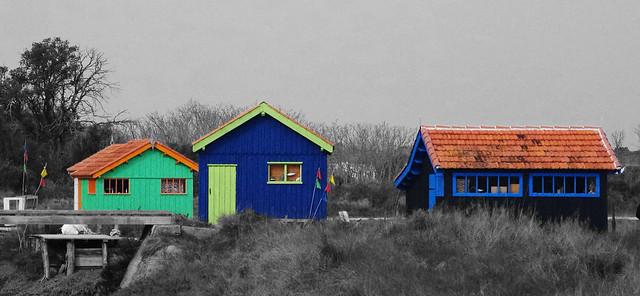 Trio de cabanes Colorées