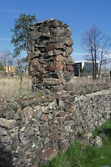 Old column and rock wall