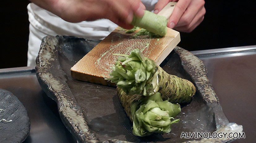 Everything is prepared with the utmost care at Waku Ghin, including the dipping wasabi for the next dish which was prepared fresh