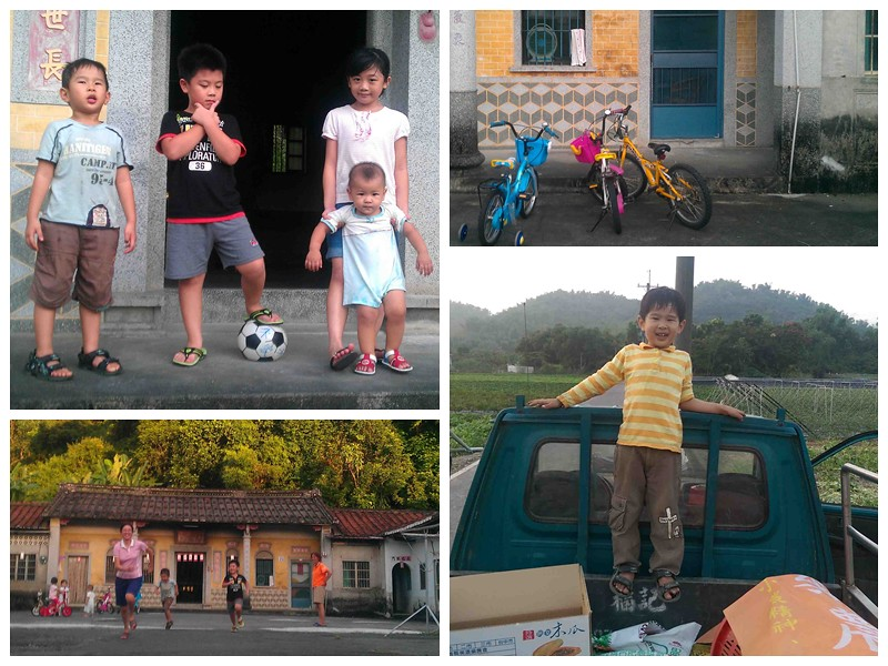 農村的新生代,應該是什麼樣子?小鬼們在夥房的禾埕打鬧玩樂;(右下)樂樂和我到蘿蔔田工作。圖片來源:李慧宜