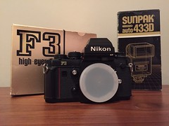 Score!  Nikon F3HP in great condition with flash mount, box, manuals, and Sunpak for only $150.   I could not have afforded this camera in high school, which is about the time it was made...