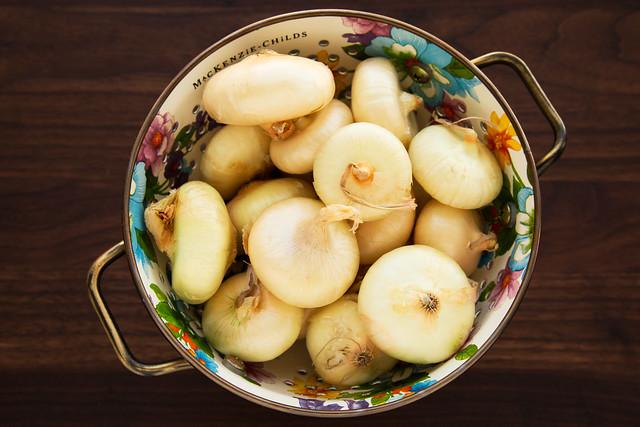 cipollini onions in colander