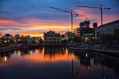 orange reflection water clouds sunrise mirror cranes 209 seaport stocktoncalifornia michaelbrookingphotography