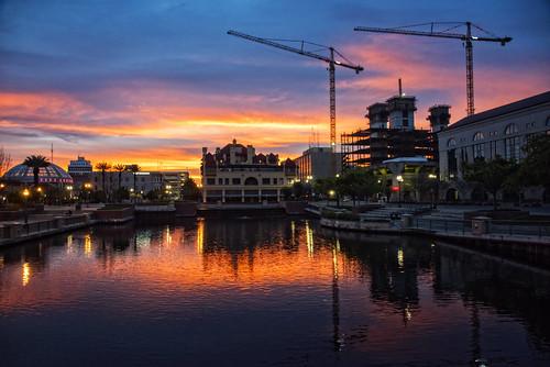 orange reflection water clouds sunrise mirror cranes 209 seaport stocktoncalifornia michaelbrookingphotography