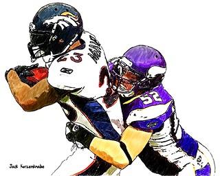 Denver Broncos Willis McGahee - Minnesota Vikings Chad Greenway