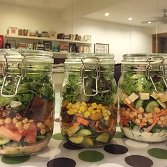 So yeah, something else made it to my happy list. These. Thanks for the great idea, #popsugar and @klbeasley ! #masonjarsalads #healthyeats #love #salt #feta and #Thai #dressing