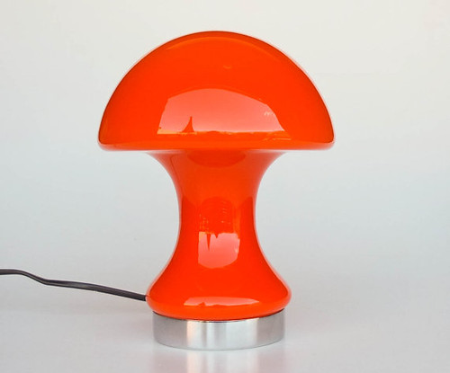 Vintage Cased Glass Mushroom / Table / Desk Lamp / 70s Atomic Lightning / Orange