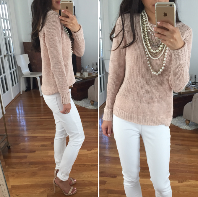 ann taylor linen sweater white jeans outfit2