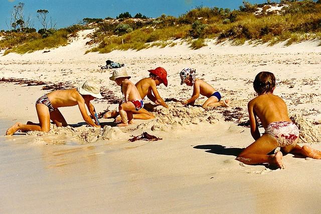 Luke, Dale, Ken, Tim & Terry Weaver, Rottnest Island sandcastle Jan 1991