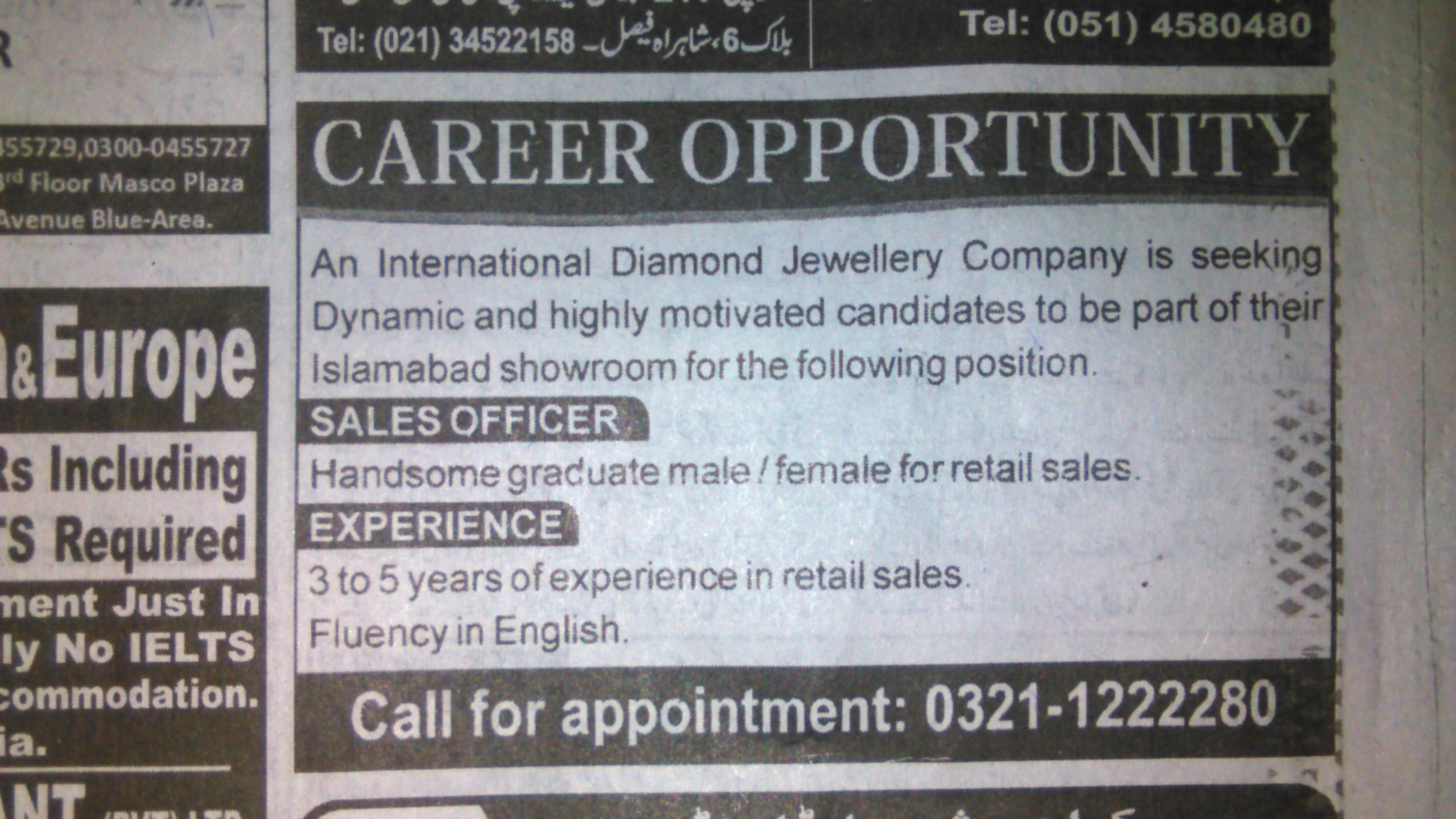 International Jewellery Company Requires Sales Staff