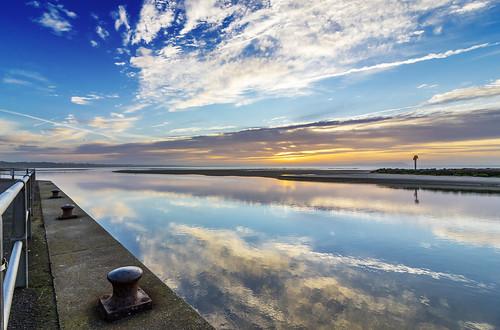 reflection clouds sunrise mirror bluesky mudefordquay vegetarian6