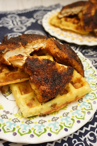 spicy chicken and potato waffles