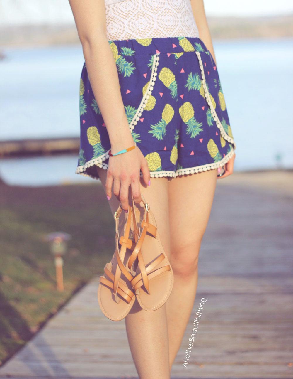 Pineapple split front shorts with mini pom pom trim