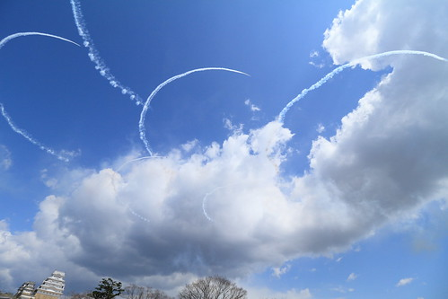 "The Rehearsal of Blue Impulse's flight at Himeji Castle (11) drawing ""Sakura"""