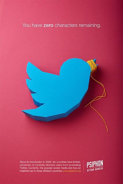 Paper Sculpture Twitter Logo - Psiphon