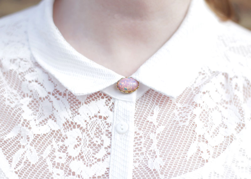 White Lace shirt and opal necklace, Bumpkin Betty