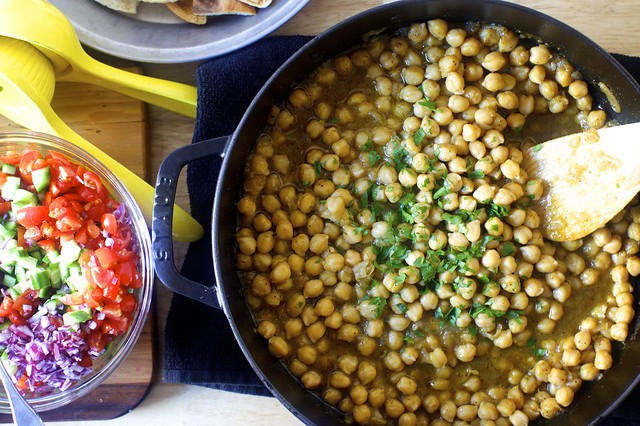 "baked chickpeas, a little tomato-cucumber salad ""relish"""