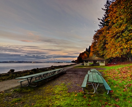 park autumn trees beach ferry clouds table point washington picnic ship waterfront cargo container tacoma hdr defiance